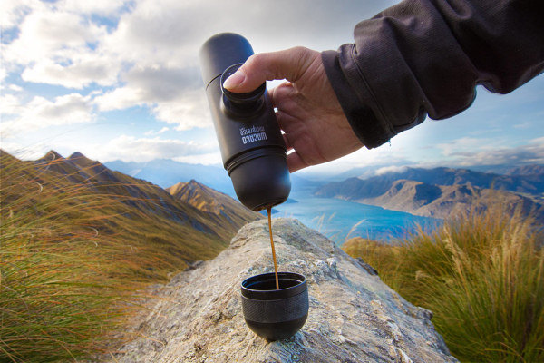 minipresso being used in mountains